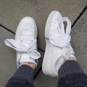 puma white patent sneakers 👟